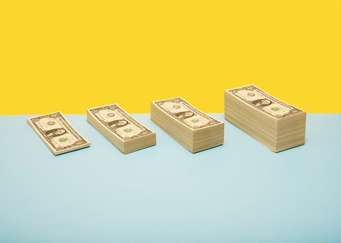 Four stacks of dollar bills, each getting progressively higher.