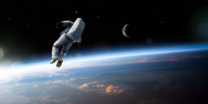 Astronaut floating in space.