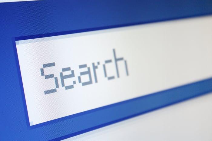 Une barre de recherche sur un écran.