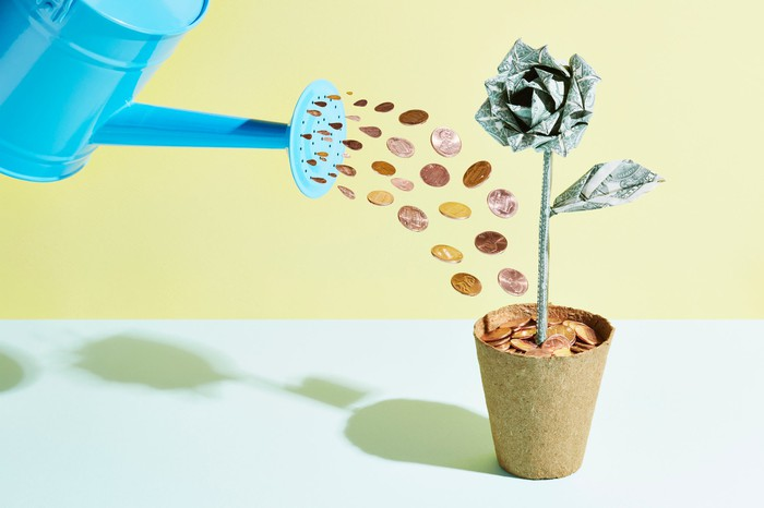 A rendering of a watering can shooting pennies into a potted plant that sprouts a rose made of cash.