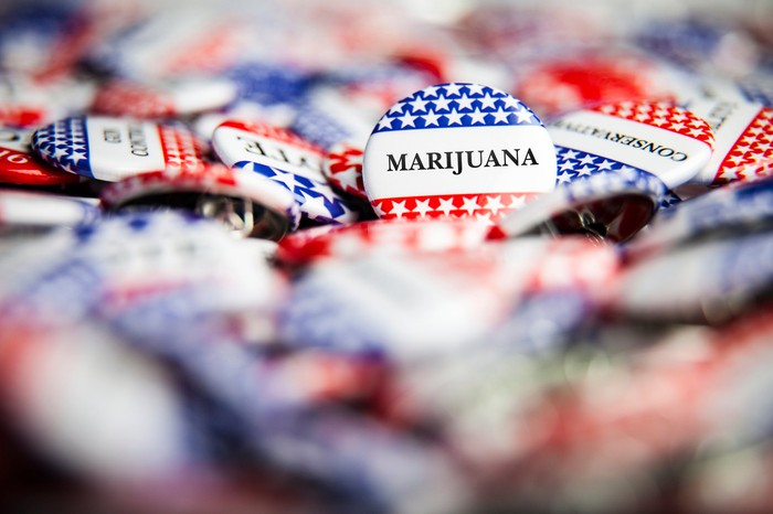 American campaign button with the word marijuana.