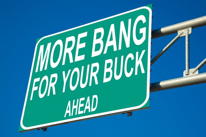 """A green road sign that says, """"More Bang for Your Buck Ahead."""""""