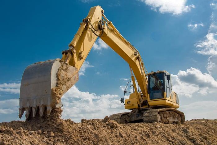 Digger at a construction site.