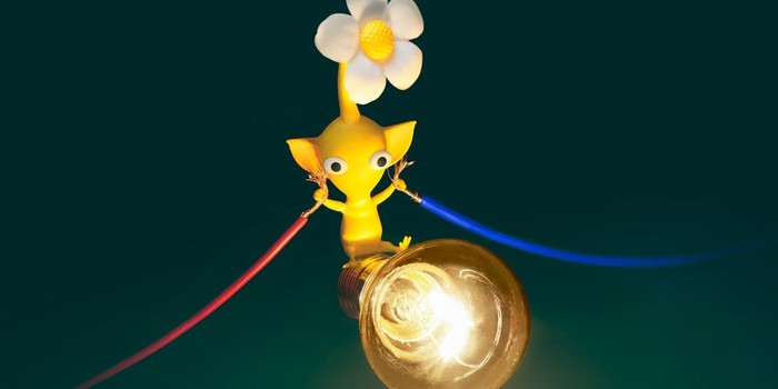 A Pikmin holding wires and a lightbulb.