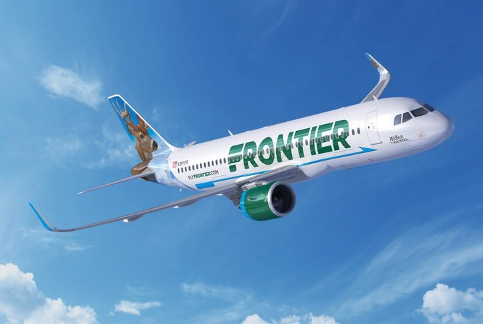 A Frontier Airbus A320 NEO in flight.