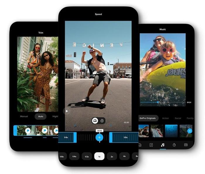GoPro Quik app in edit mode on phones
