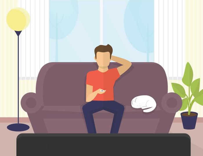 Homme, regarder télé