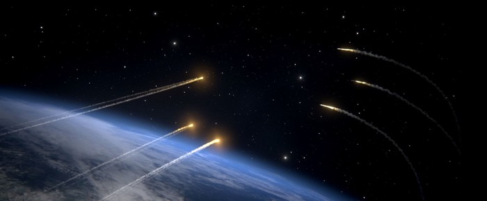 Rendering of missile defense shots targeting incoming missiles.
