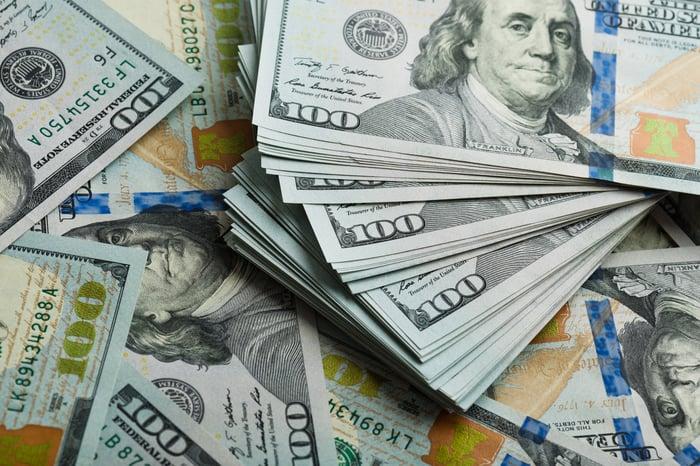 Stacks of one hundred dollar bills.