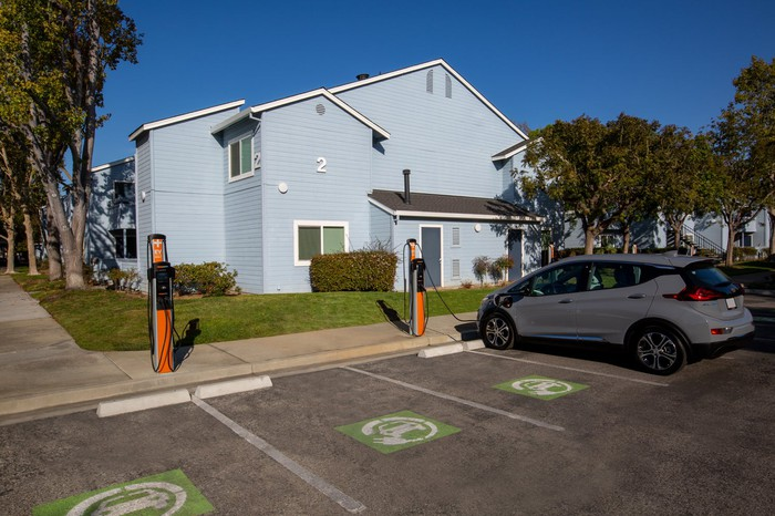 ChargePoint chargers in multifamily home parking lot