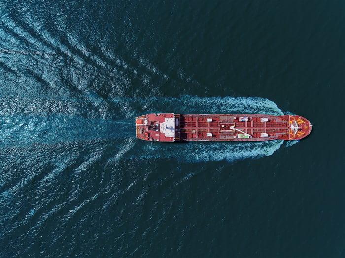 Oil tanker from overhead.