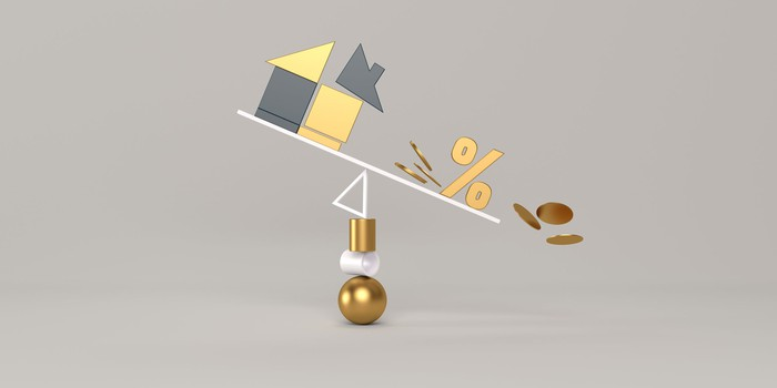 A home, percentage sign, and coins tumble from an out-of-balance situation.