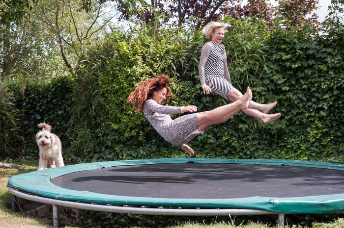 Two ladies bouncing off a trampoline as a dog waits its turn.