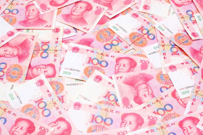 Stacks of 100 yuan notes.
