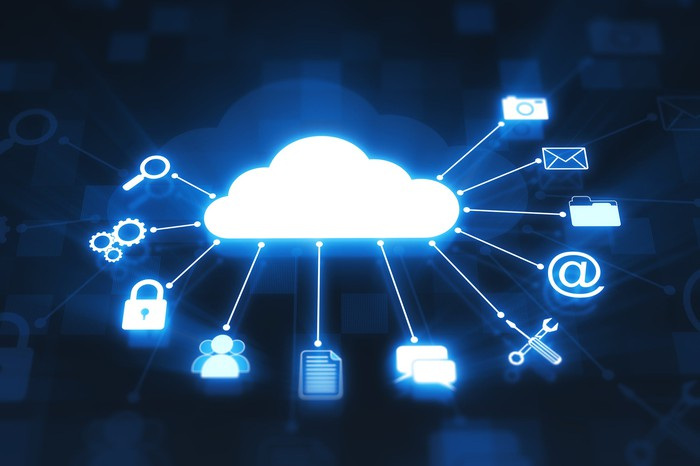 An illustration shows a cloud being linked to various software applications
