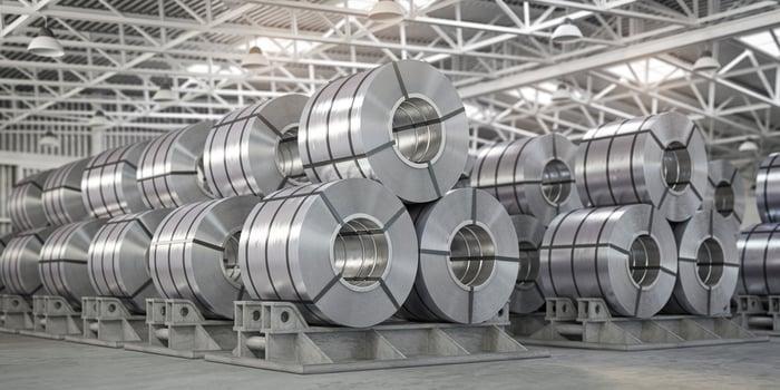 Steel in a warehouse.
