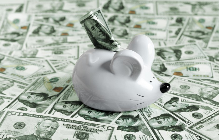 A mouse piggy bank laying on a bed of cash.