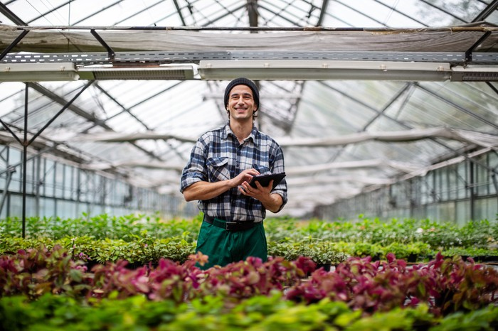 Man standing in greenhouse holding tablet and smiling