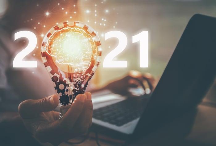 Hand holding lit lightbulb as the 0 in 2021