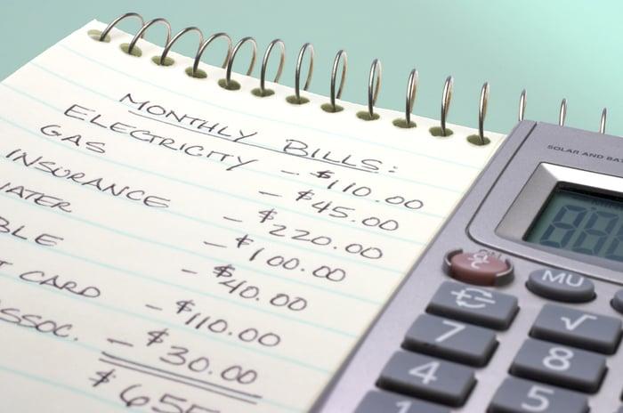 Bloc-notes avec budget mensuel et calculatrice