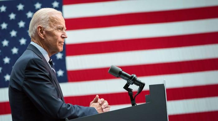 President Biden at a podium.