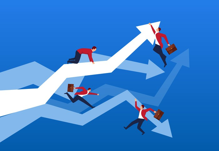 Businessmen hanging onto rising and following arrow charts.