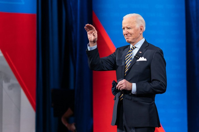 President Joe Biden waves to the crowd during CNN City Hall.