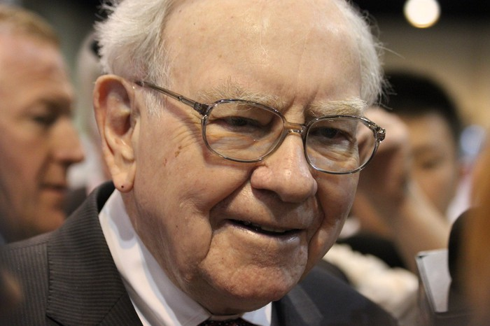 Warren Buffett at his company's annual shareholder meeting.