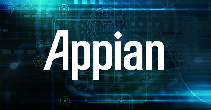 The Appian logo against a blue-green background.
