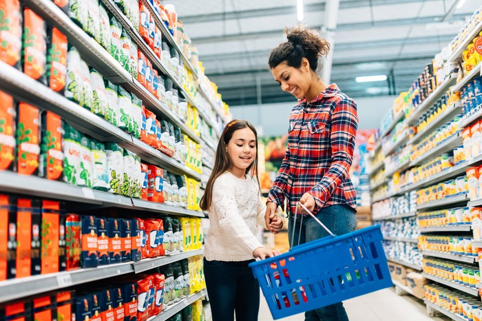 A woman and girl shopping in a supermarket.