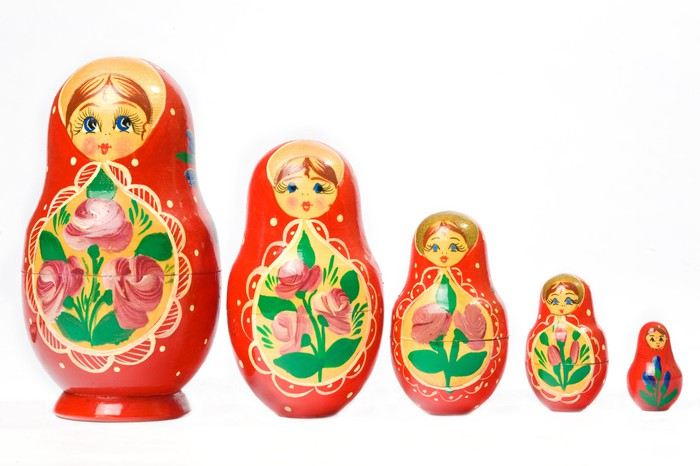 A row of Russian matryoshka dolls.