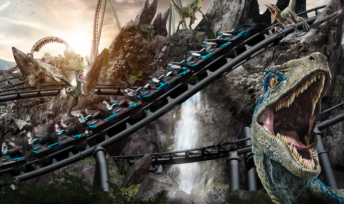 Concept art for Velocicoaster opening at Universal Orlando's Islands of Adventure on June 10, 2021.