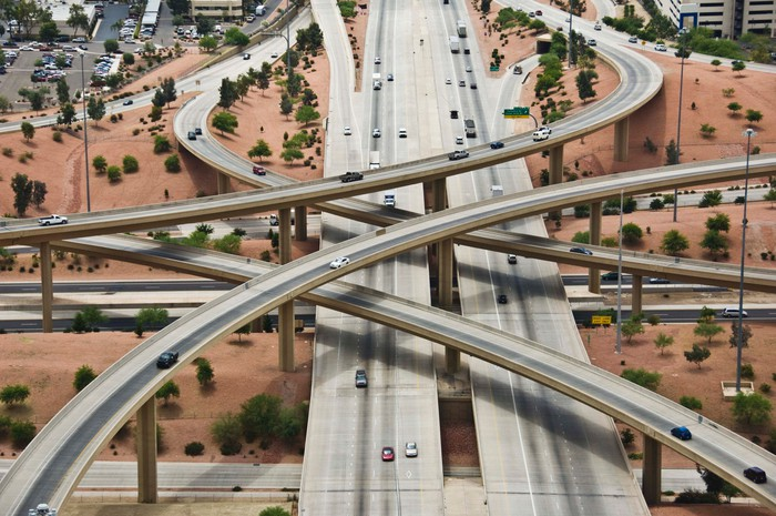 A network of highways overlapping each other.