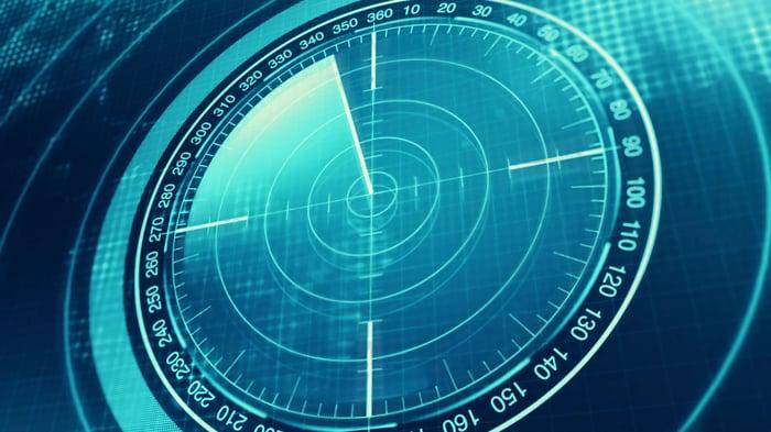 Circular radar screen with no returns.