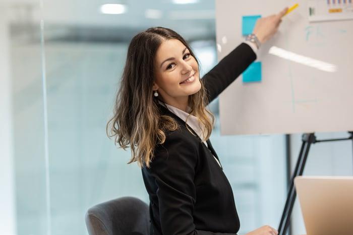 Woman showing growth presentation.