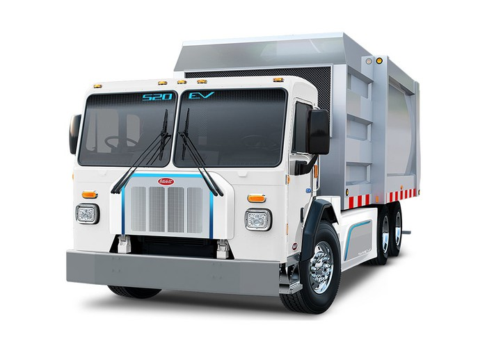 A rendering of the Peterbilt 520EV, a garbage truck.