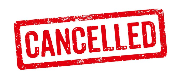 The word Cancelled stamped in red ink