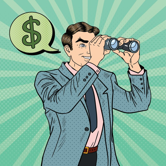 A comic-style drawing of a businessman looking through binoculars with a dollar sign in a thought bubble above his head.