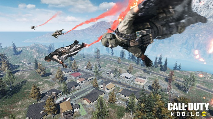A screenshot from Call of Duty Mobile depicting characters parachuting into a town.