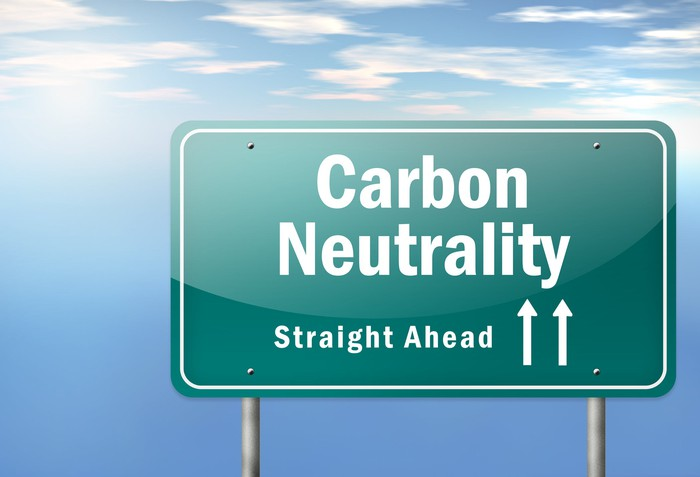 A sign that says carbon neutrality straight ahead.