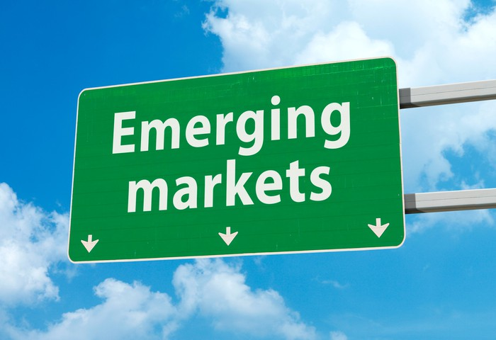 "A highway sign that says ""Emerging markets."""