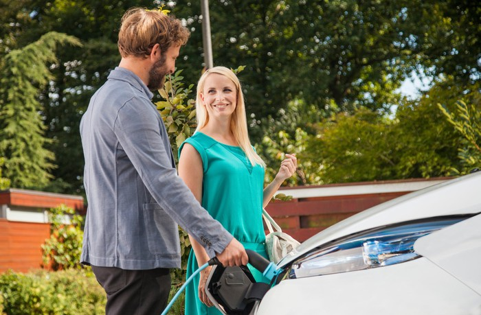 Man and woman charging electric vehicle.