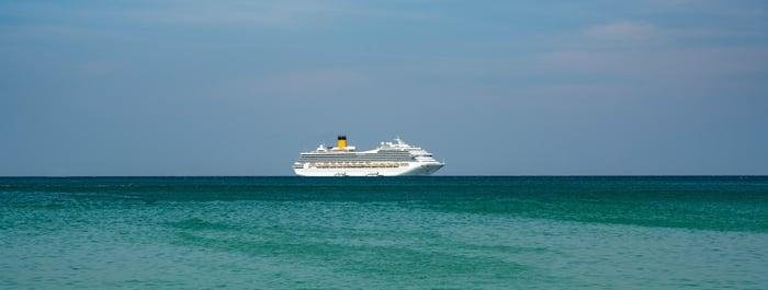 A cruise ship on the ocean horizon.