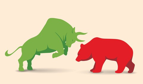 bull and bear facing each other