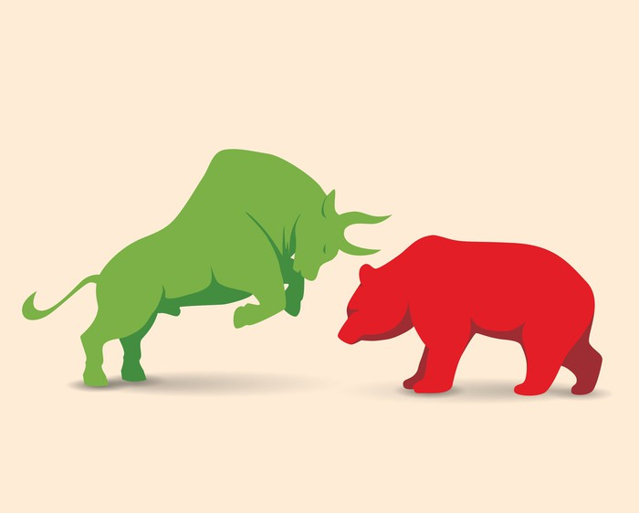 Green bull and red bear facing each other