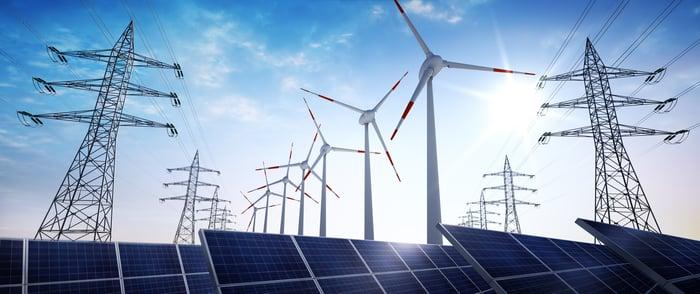 Activos solares y eólicos con líneas de transmisión eléctrica.