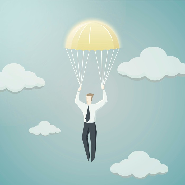 Drawing of a man holding golden parachute.