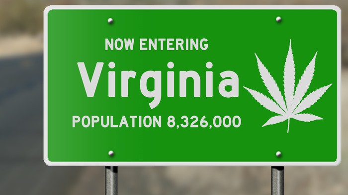 Now entering Virginia sign with a cannabis leaf image on it
