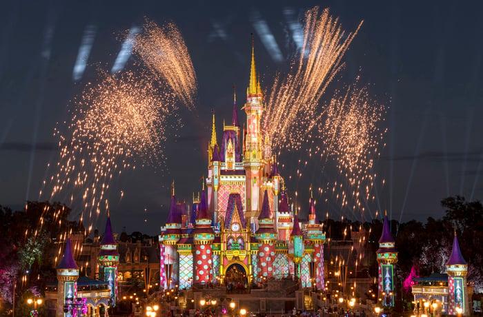 A fireworks display at Walt Disney World's Magic Kingdom.