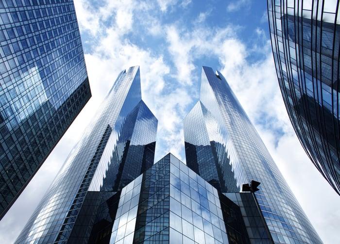 Commercial buildings.